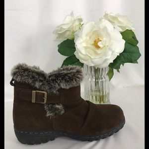 Khombu Suede Leather Faux Fur Ankle Boots